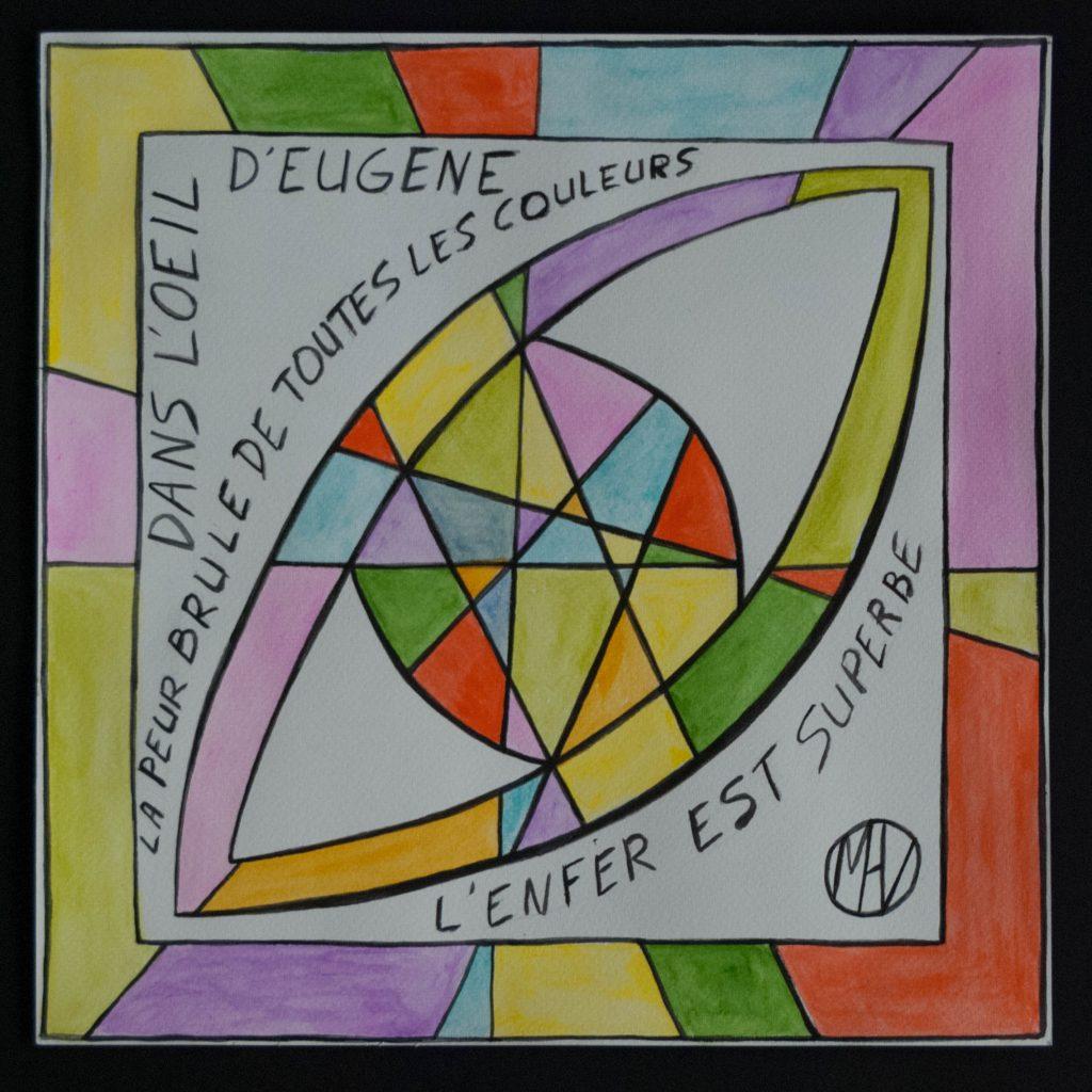 Haiku and mixed media, watecolor and graphite - Eugene's eye