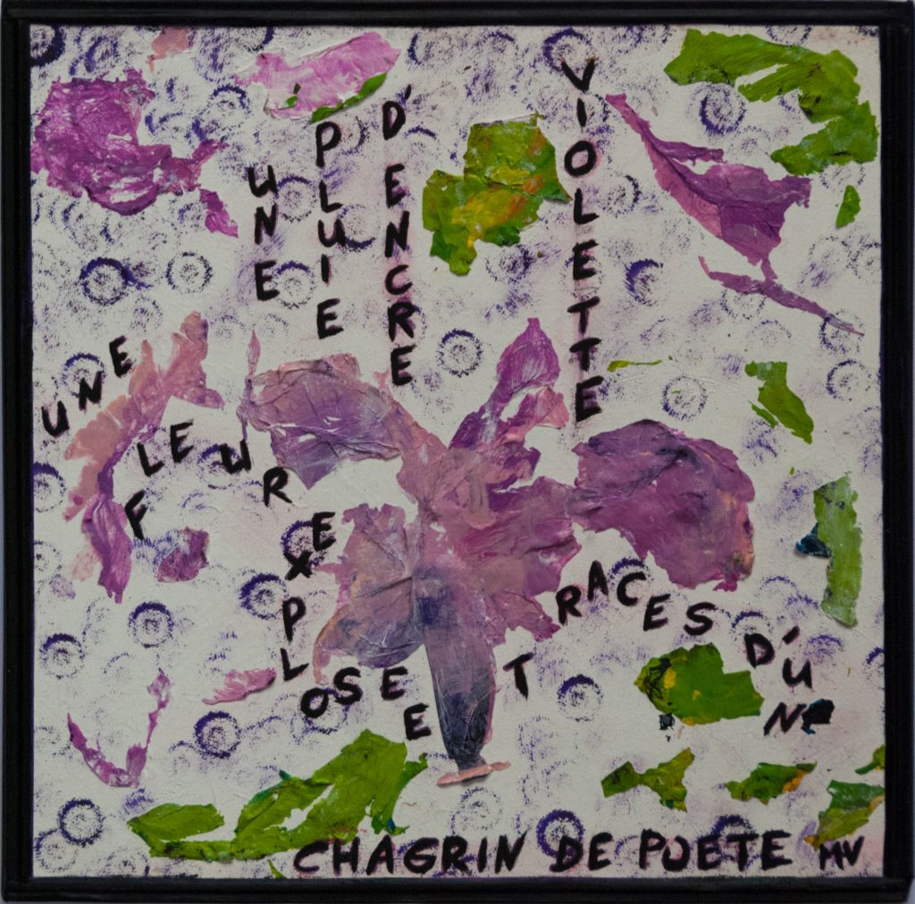 Purple rain - Haiku and mixed media painting