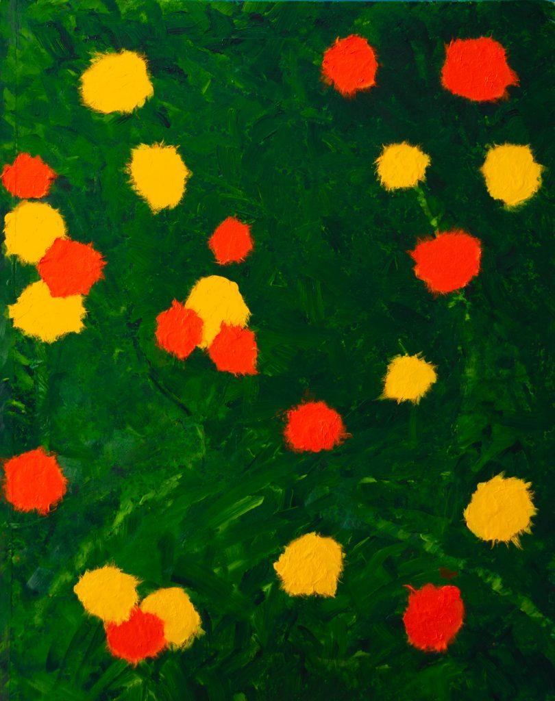 Mixed media Painting and haiku, a happy garden