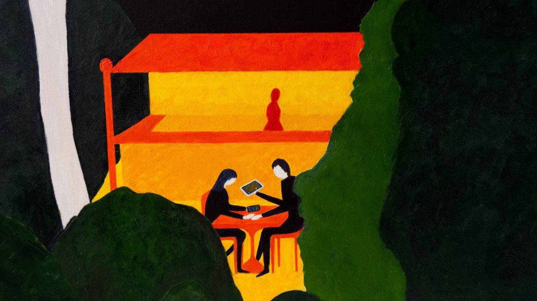 Modern love, mixed media painting