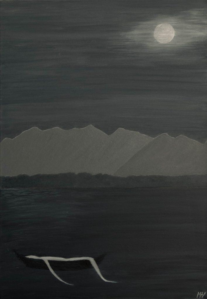 Spooky, painting, grey haiku - Sinistre, peinture et haïku sur le gris