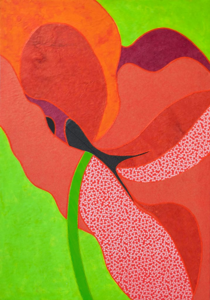 Maelies's poppy, mixed media painting.