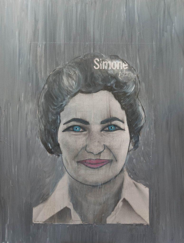 Simone veil, mixed media painting