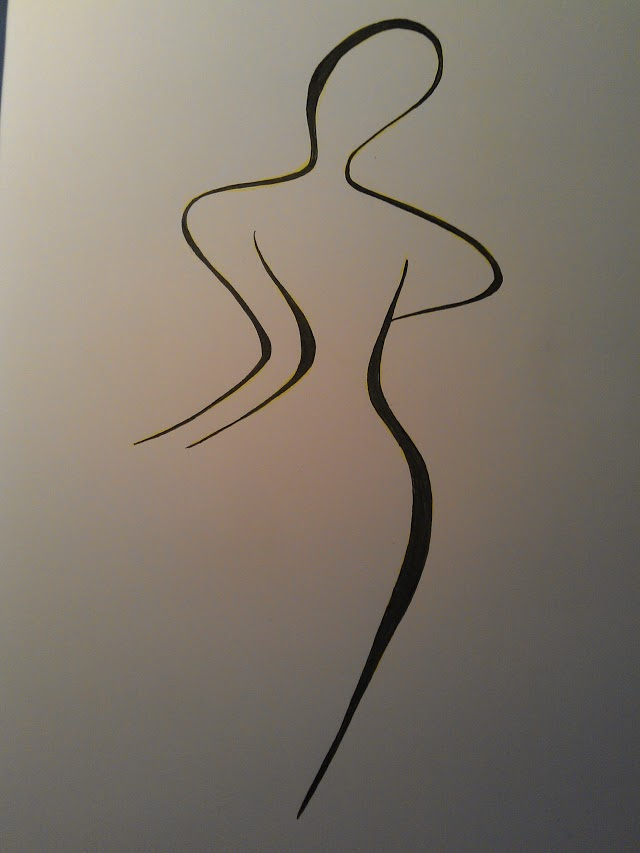Nude woman climbing a staircase, drawing