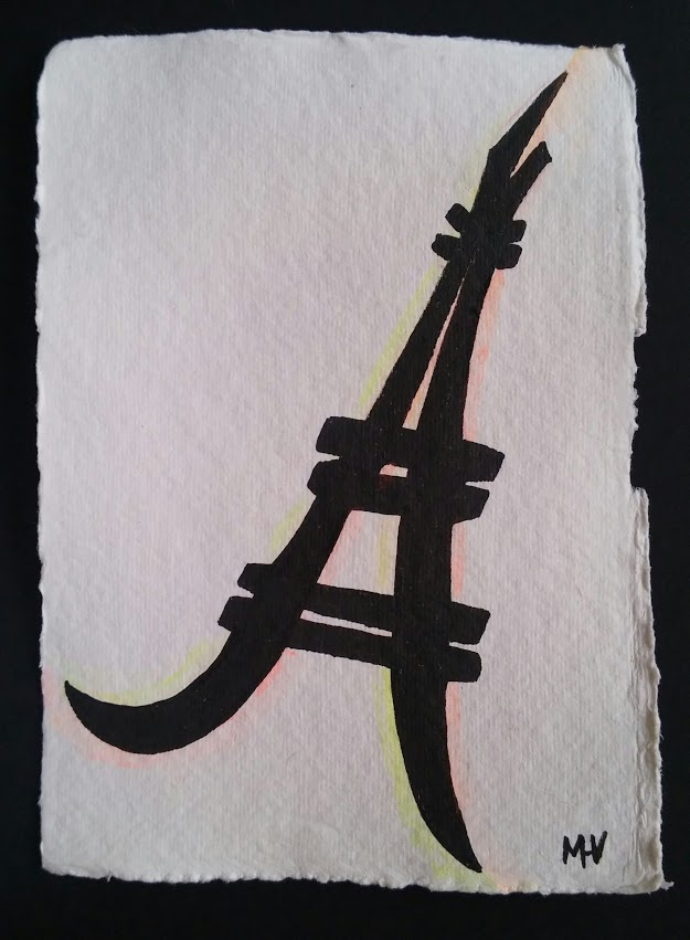 Tour eiffel, ink and watercolor drawing