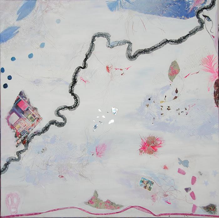 Mixed media painting, social media world