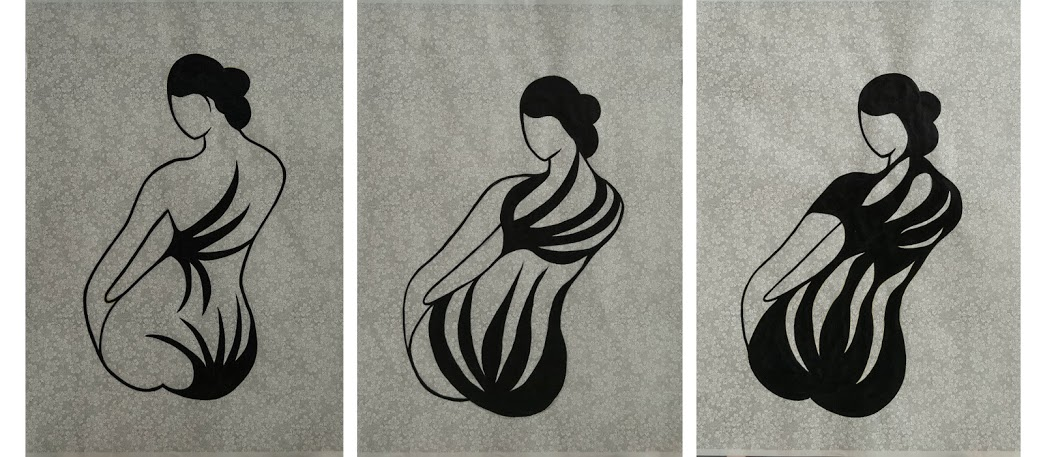 At last, 3 geishas with the wild tatoo, acrylic paintings on Japanese paper