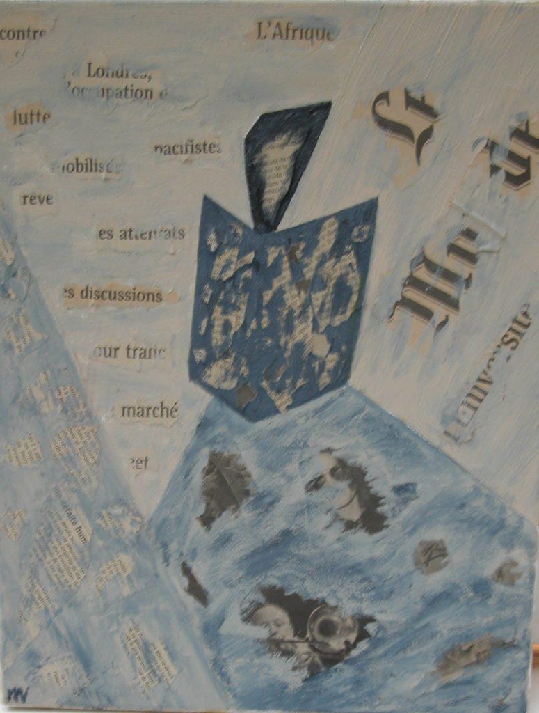 Le bruit du monde, noisy world, mixed media collage, painting,
