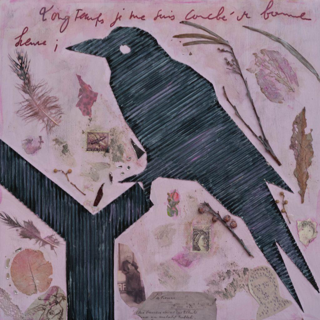 Muninn, the nordic raven symbol of memory, mixedmedia painting