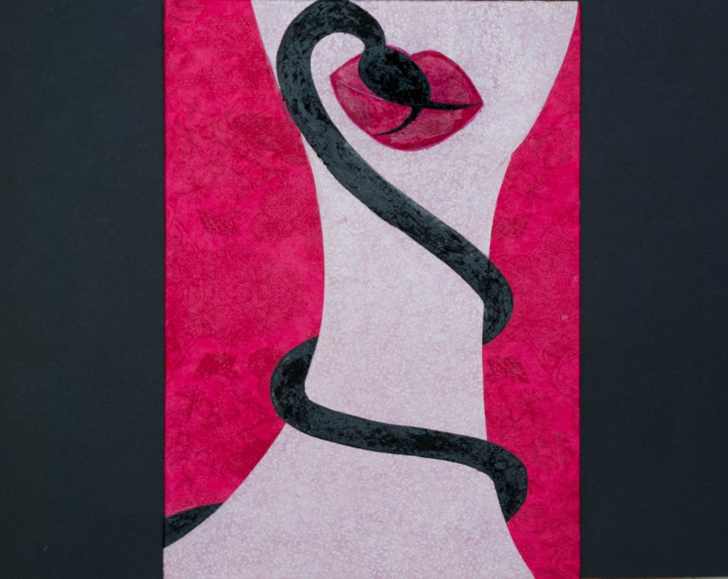 Mixed media, venenous kiss, kiss of the snake
