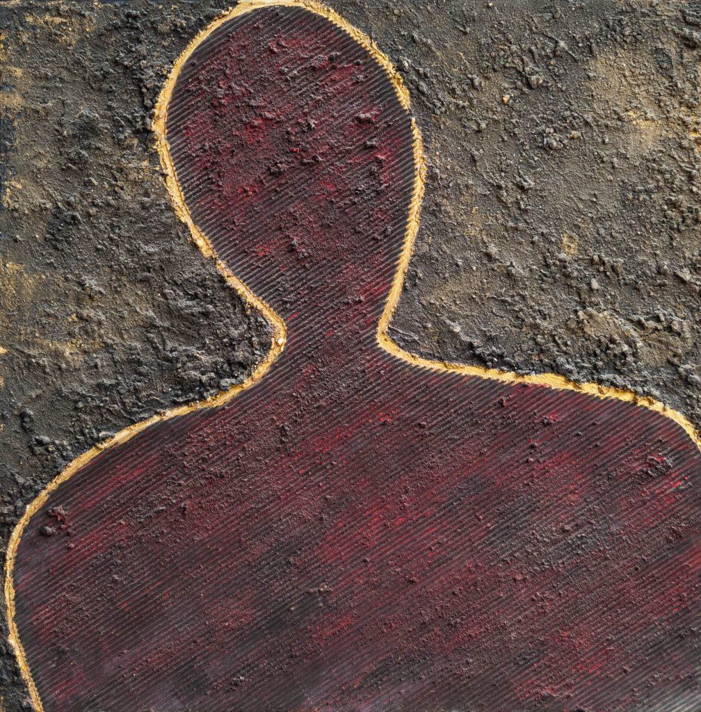 Mixed media portrait, the sad man