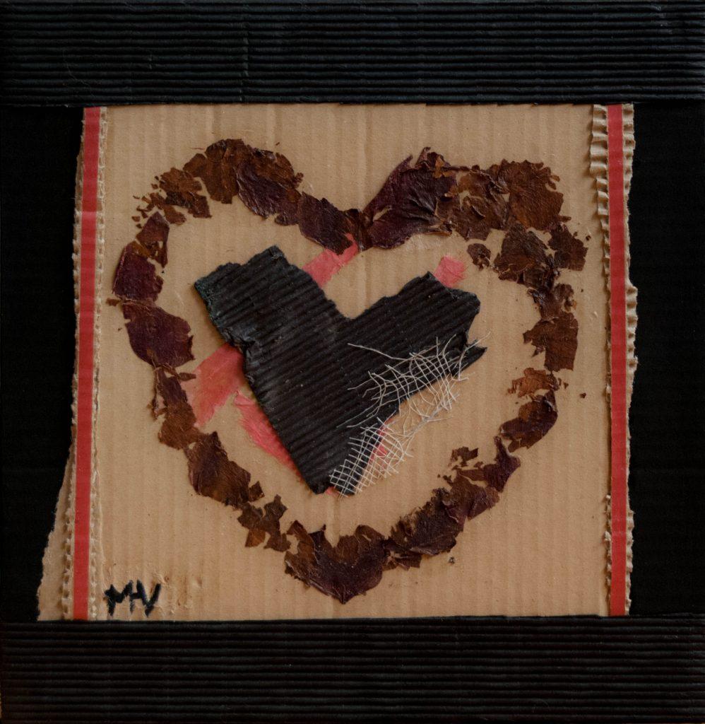 Shabby heart, mixed media painting