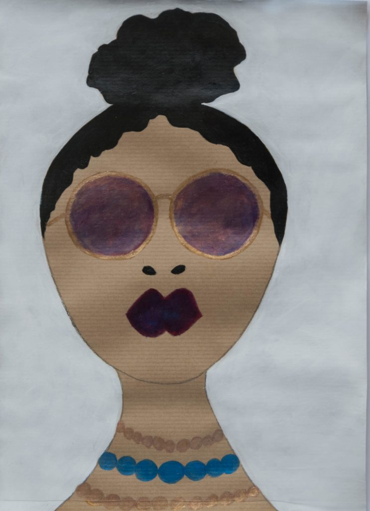 Chic girl with purple glasses, watercolor drawing