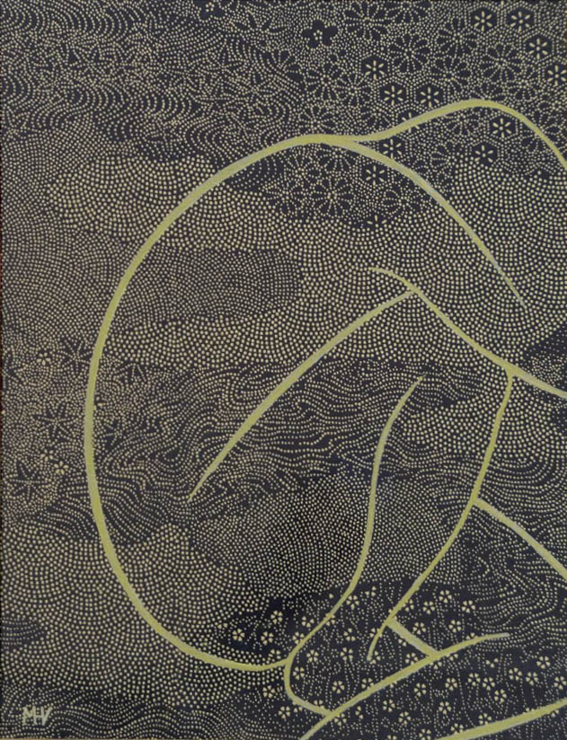 naked woman curled up, golden drawing