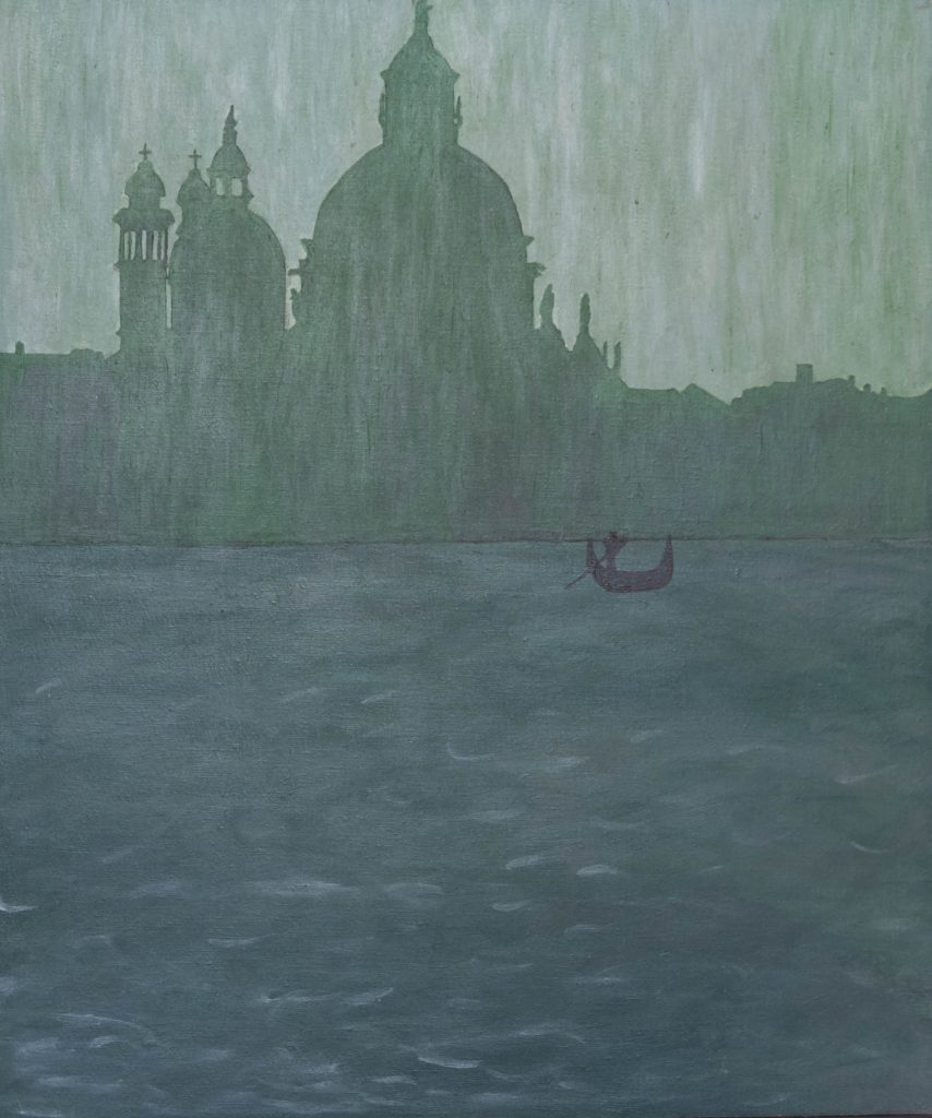 Venice drenched in green melancholy, acrylic painting