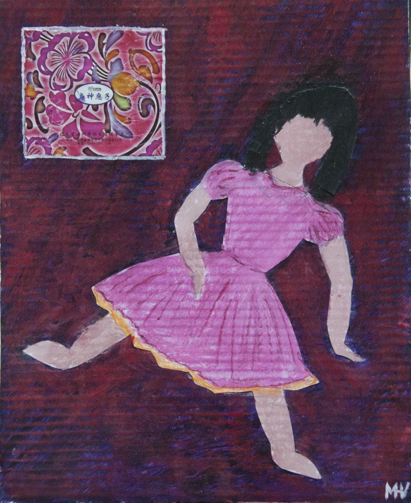 Sandrine's doll, mixed media painting