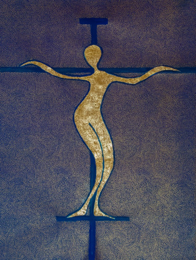 Winding Christ, icon style golden mixedmedia painting