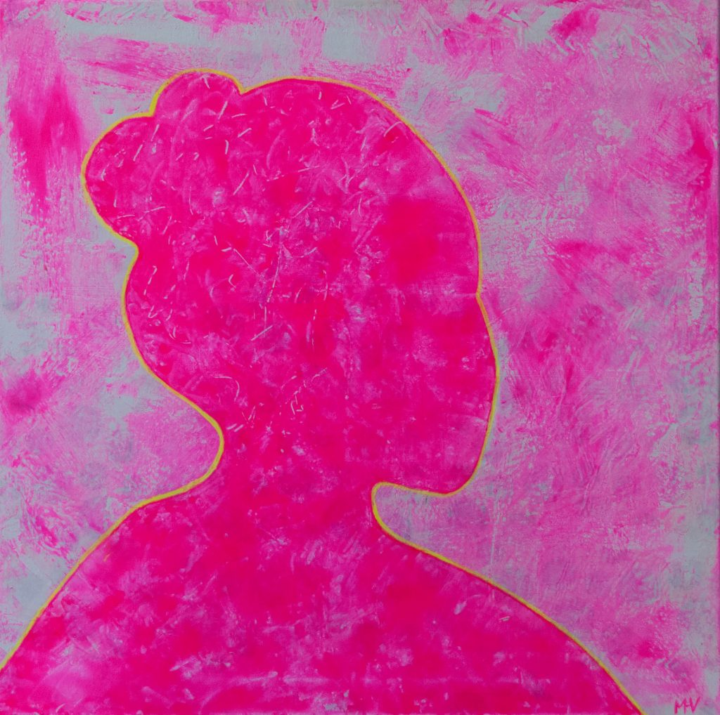 Mixed media painting - The very pretty girl of café Procope, pretty in pink