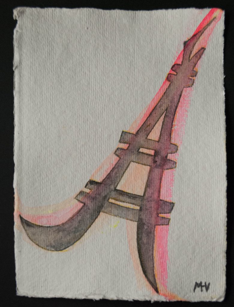 Eiffel tower, engraving and watercolor
