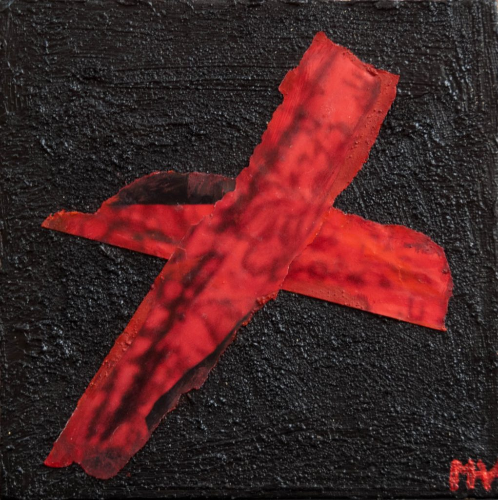 Mixed media painting, a red cross