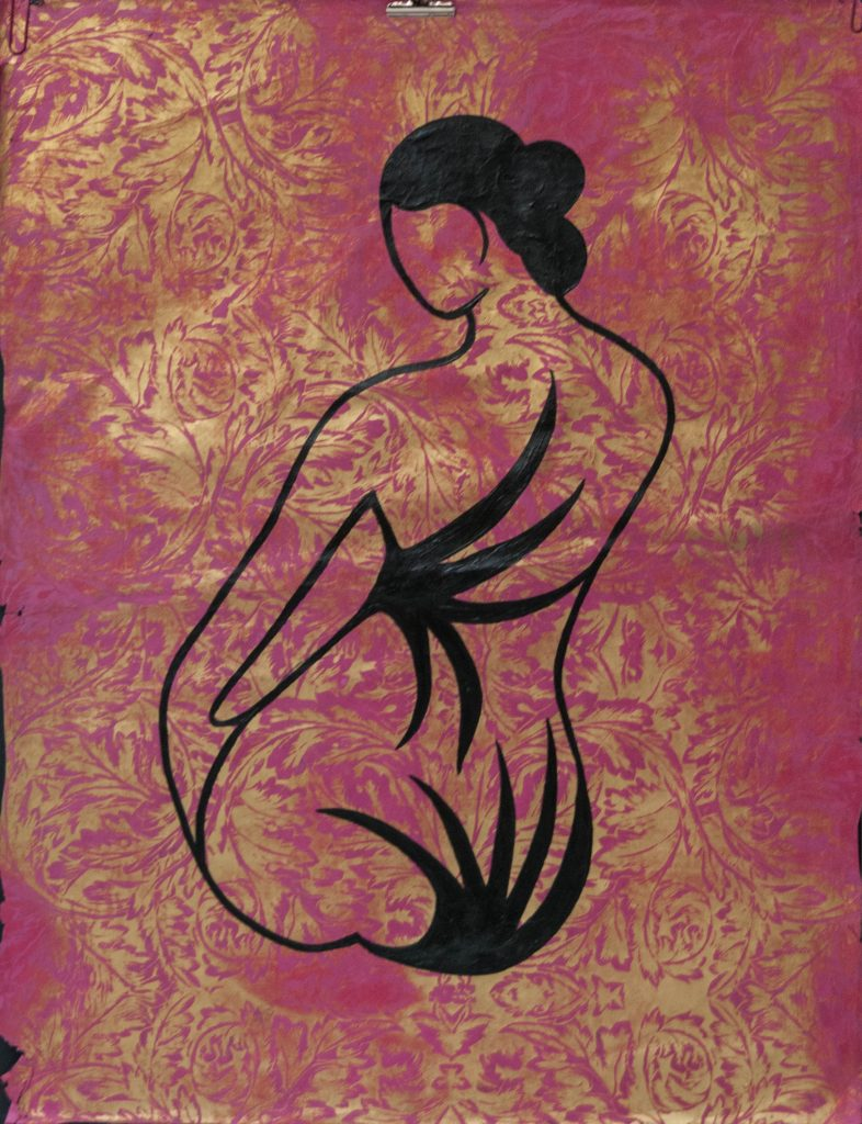 Acrylic painting on Japanese paper : geisha with wild tatoo still under control