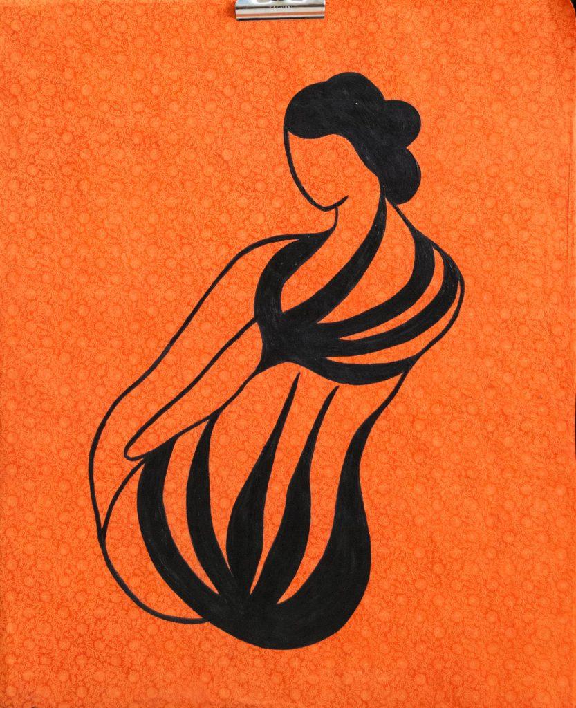 Geisha with the wild tatoo, acrylic painting