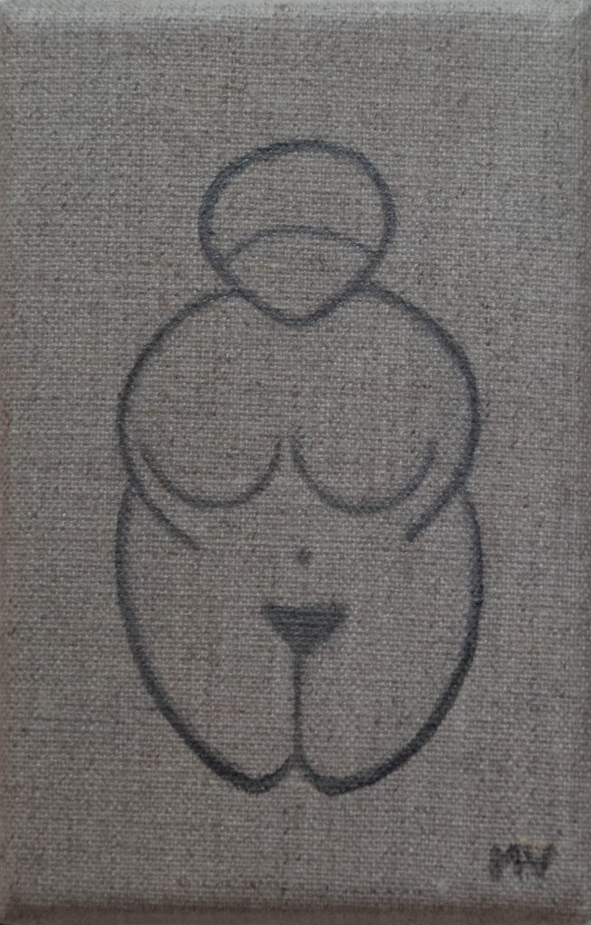 A little Venus inspired by the Willendorf Venus, painting