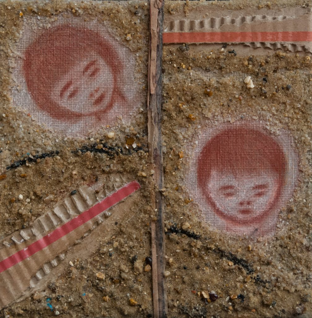 Haiku and mixed media – The small barque, painting – La petite barque, peinture