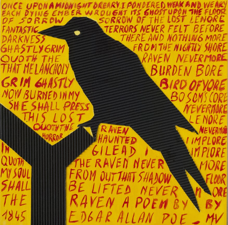 The raven, mixed media painting. Words from Edgar Allan Poe's poem and raven