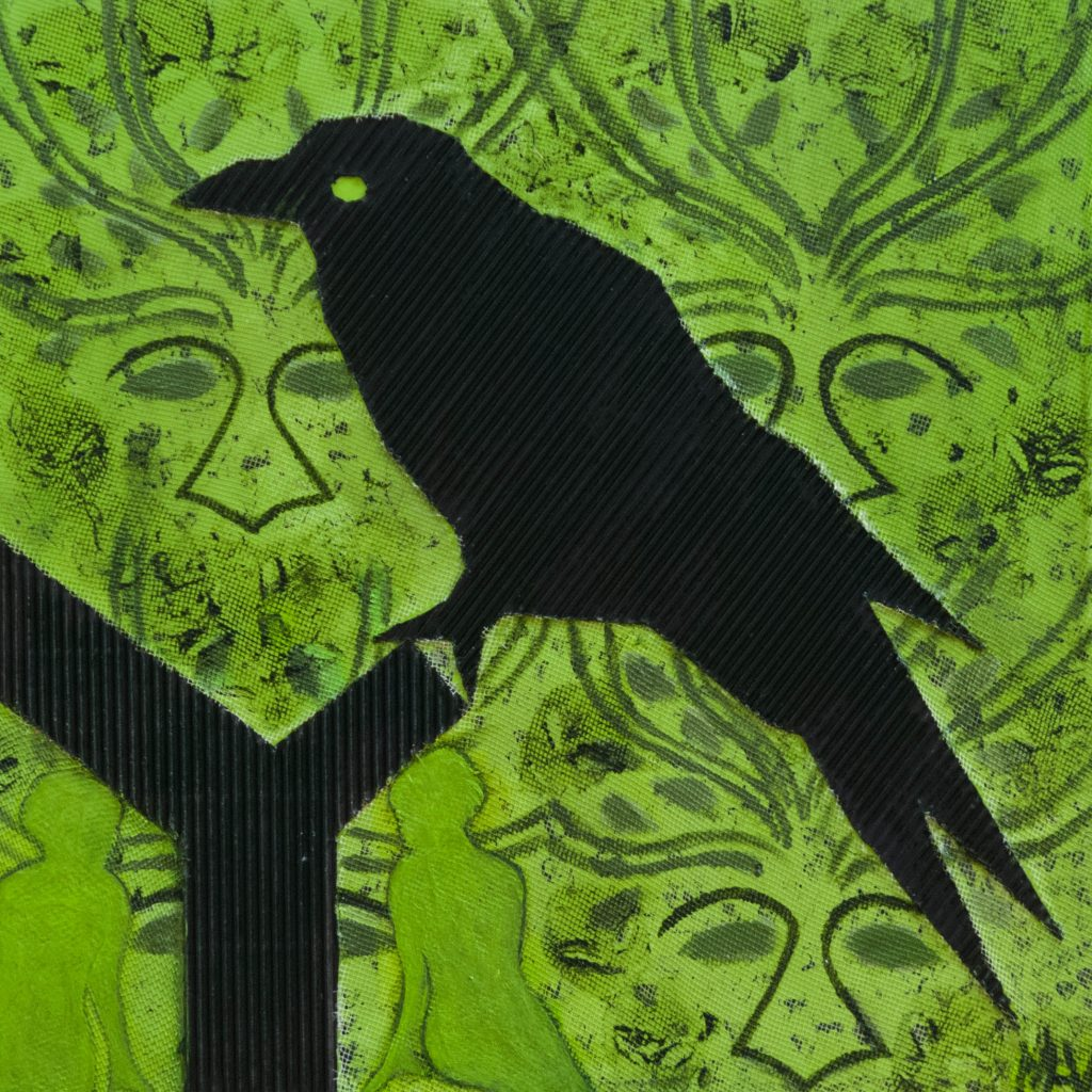Green ambivalence, the crow, mixed media