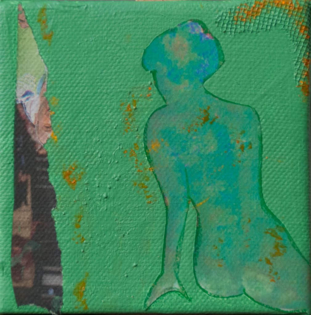The green fairy, mixed media on canvas