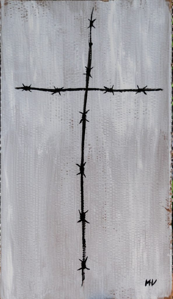 Barbed wire Christ, acrylic painting