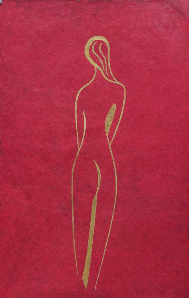 Long nude woman, drawing