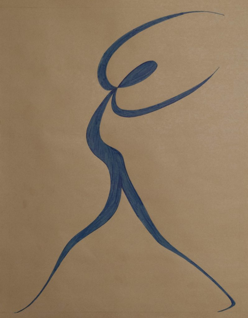 Dancer after Matisse, feltpen drawing on brown paper