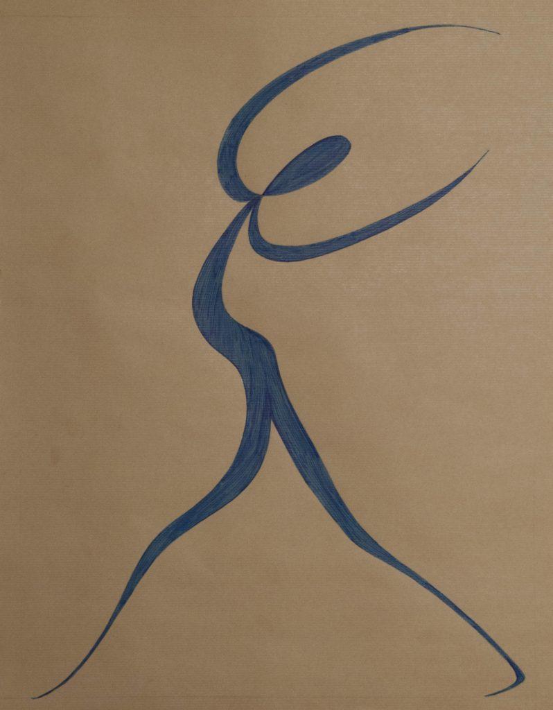 Dancer after Matisse, feltpen drawing on brown paper