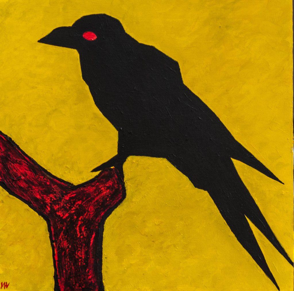Mixed media painting, Yayoi Kusama crow