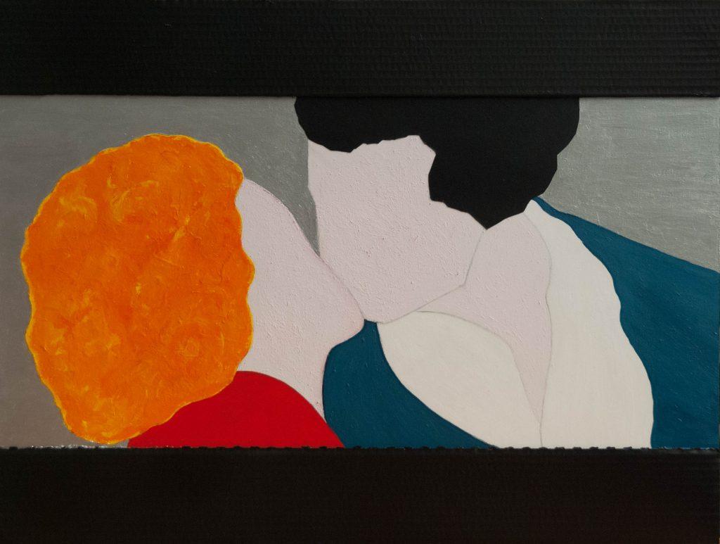 Mixed media painting, the liberation kiss