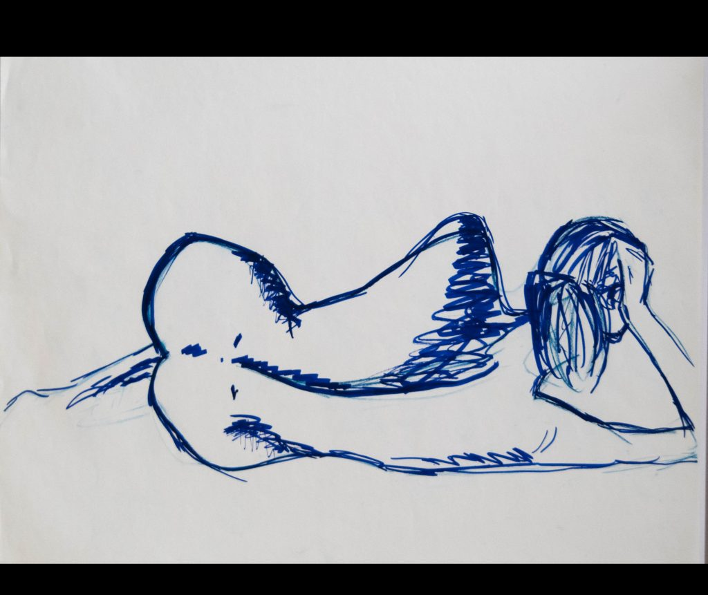 Naked woman reclining in blue, feltpen drawing