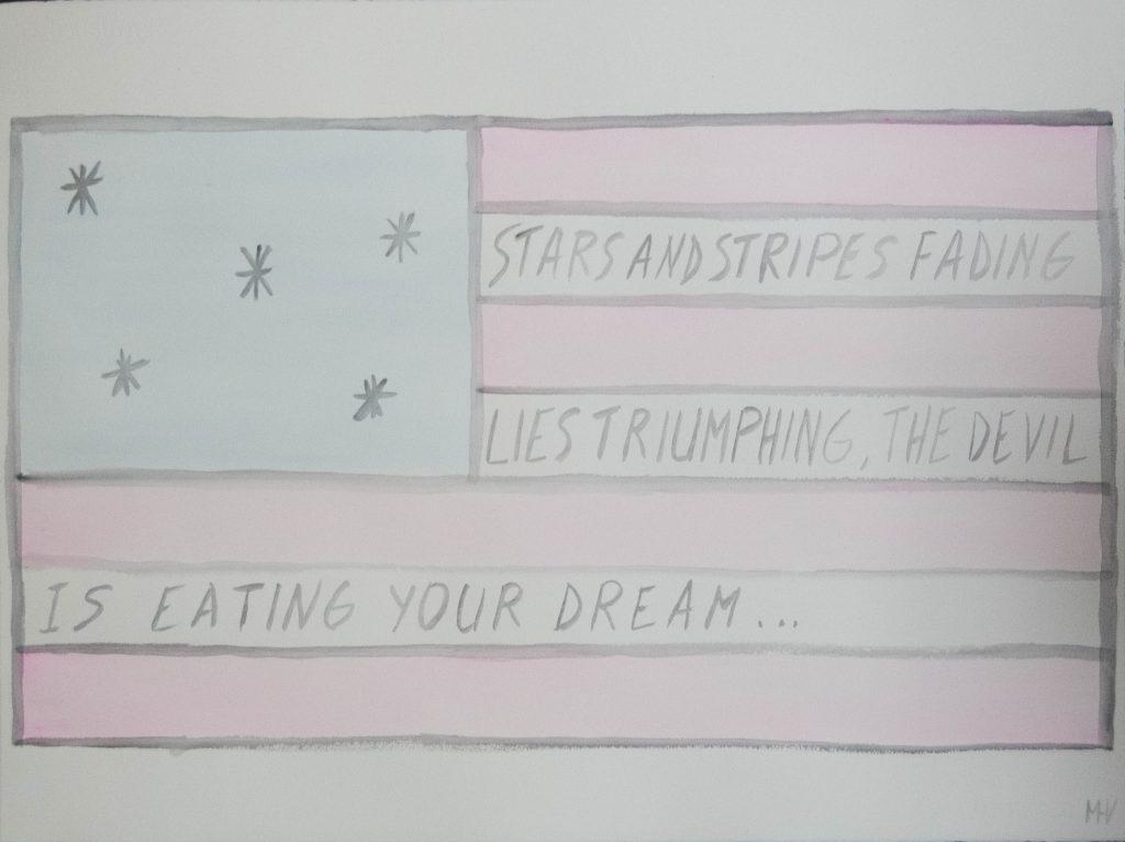 Sad American flag, watercolor painting