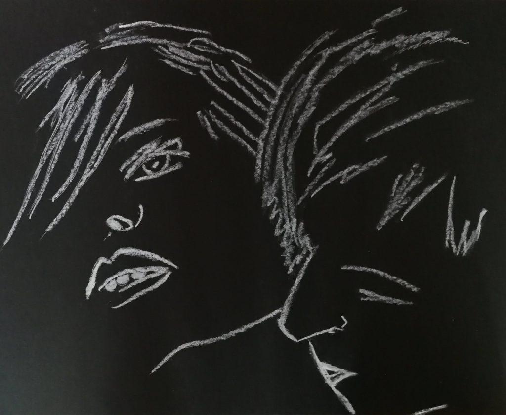 Drawing, the vampire kiss