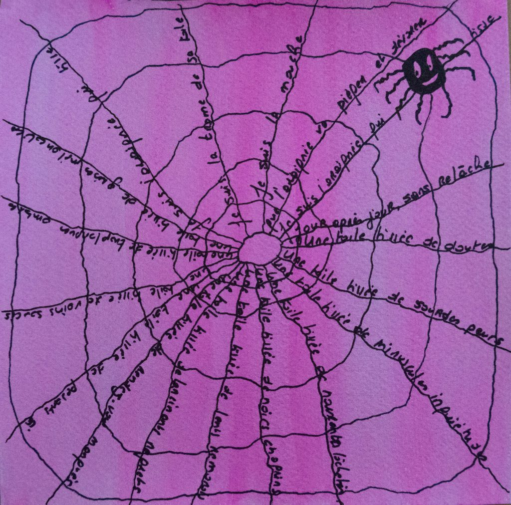 the spider and the fly, acrylic painting and poem