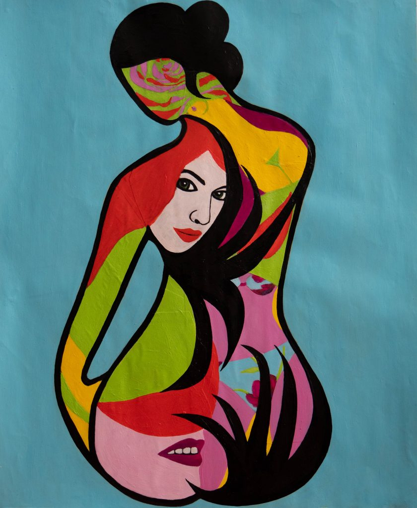 Geisha with the wild tatoos in bold colors, mixed media painting. Images of women including a variation around the reclining nude of Modigliani and the rose.
