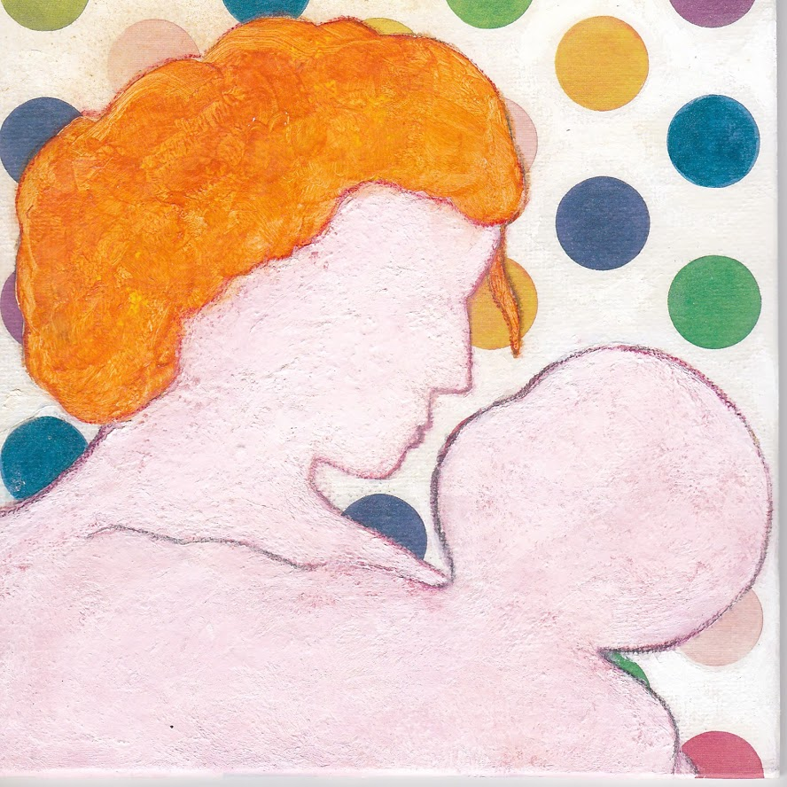 Mother and child kiss, mixed media painting