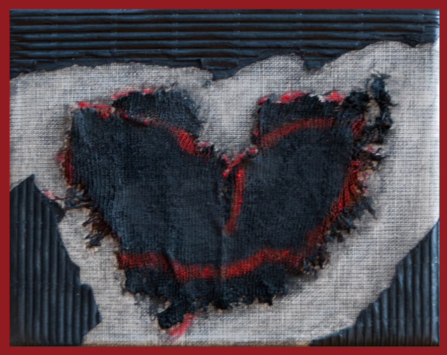 Poem and mixedmedia painting, the heart of migrants