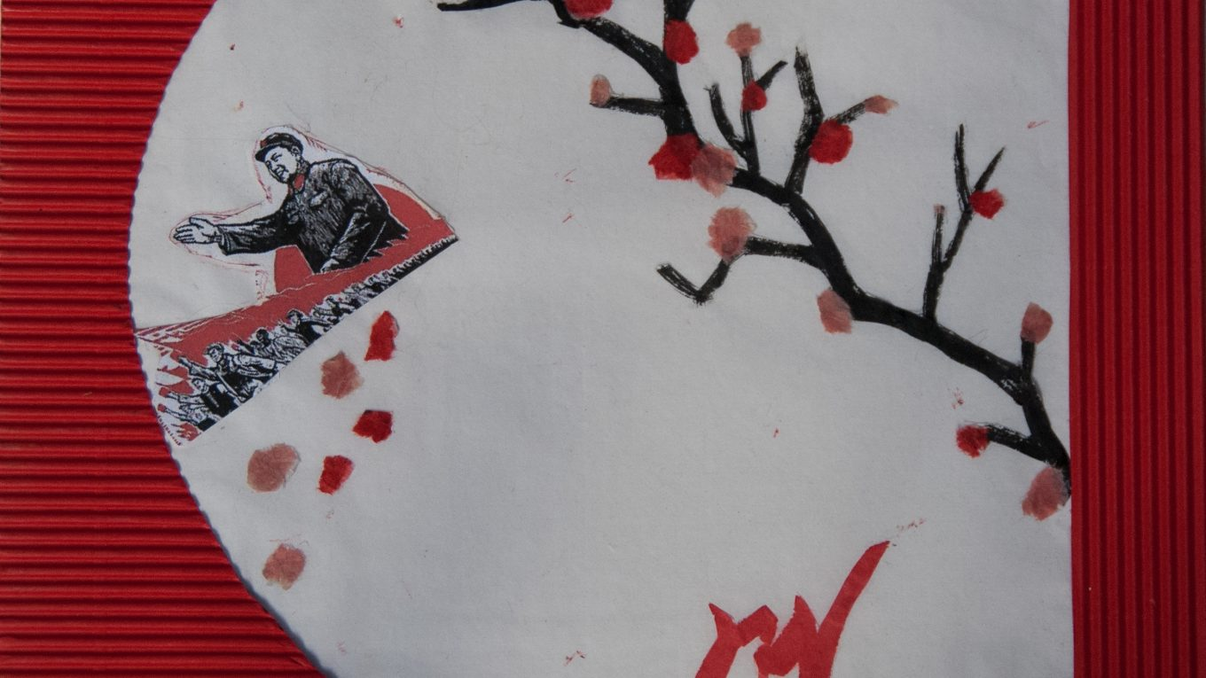 The faded flowers of communist dreams are made of blood, mixed media painting