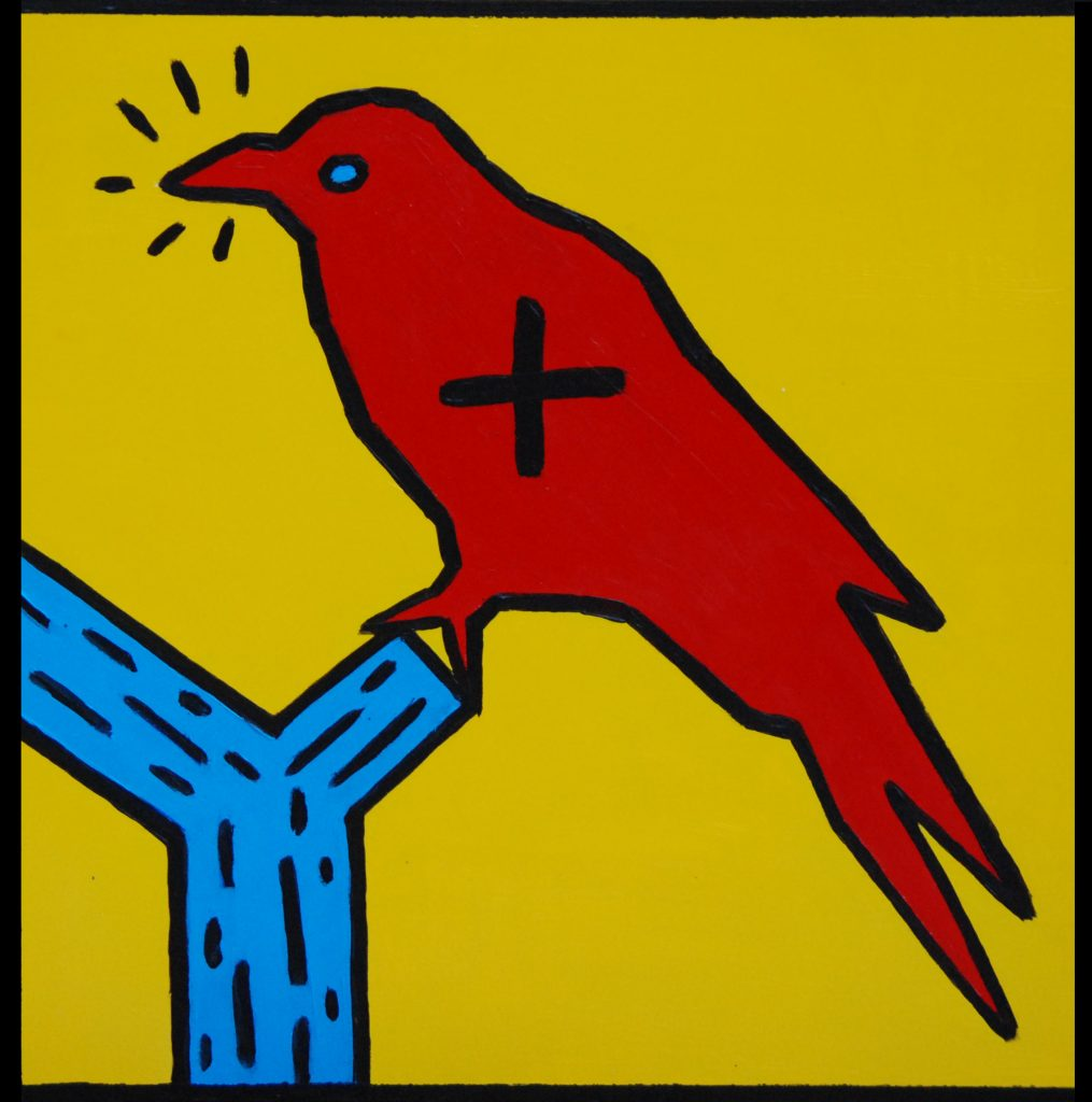 Mixed media painting, Keith Haring crow