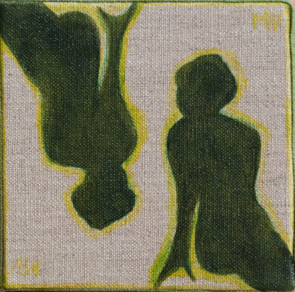 Dialogue in a green mood, mixed media painting
