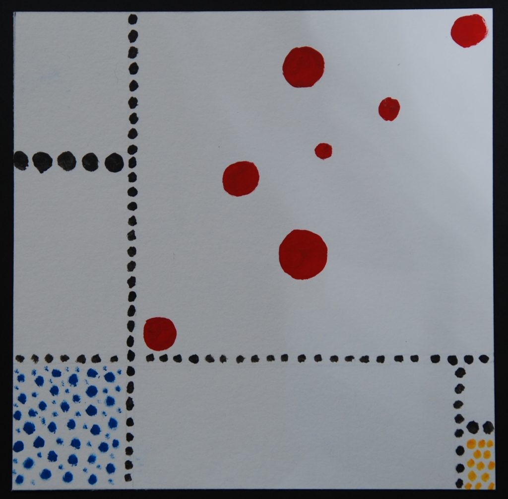 Playing with Mondrian in dots and bubbles, acrylic painting