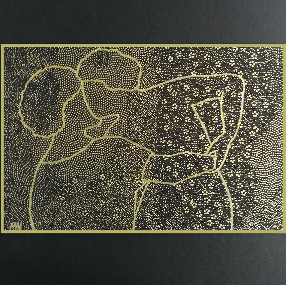 Pygmalion kissing Galatea, golden drawing on Japanese paper
