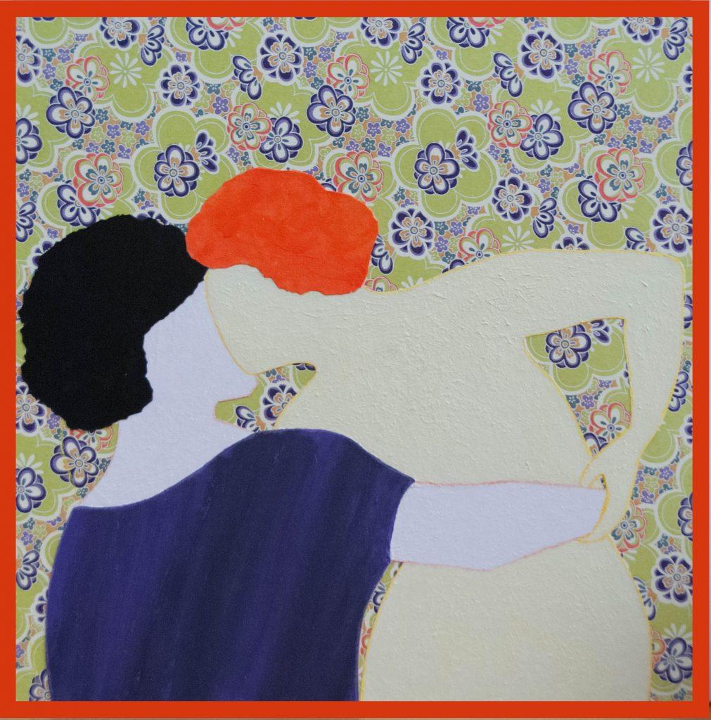Pygmalion kissing Galatea, mixed media painting and haiku